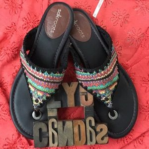 SAKROOTS Canvas Tribal Print Thong Sandal